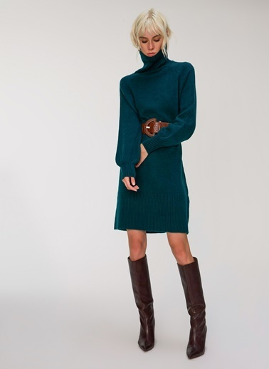 People By Fabrika Balıkçı Yaka Triko Elbise Yeşil